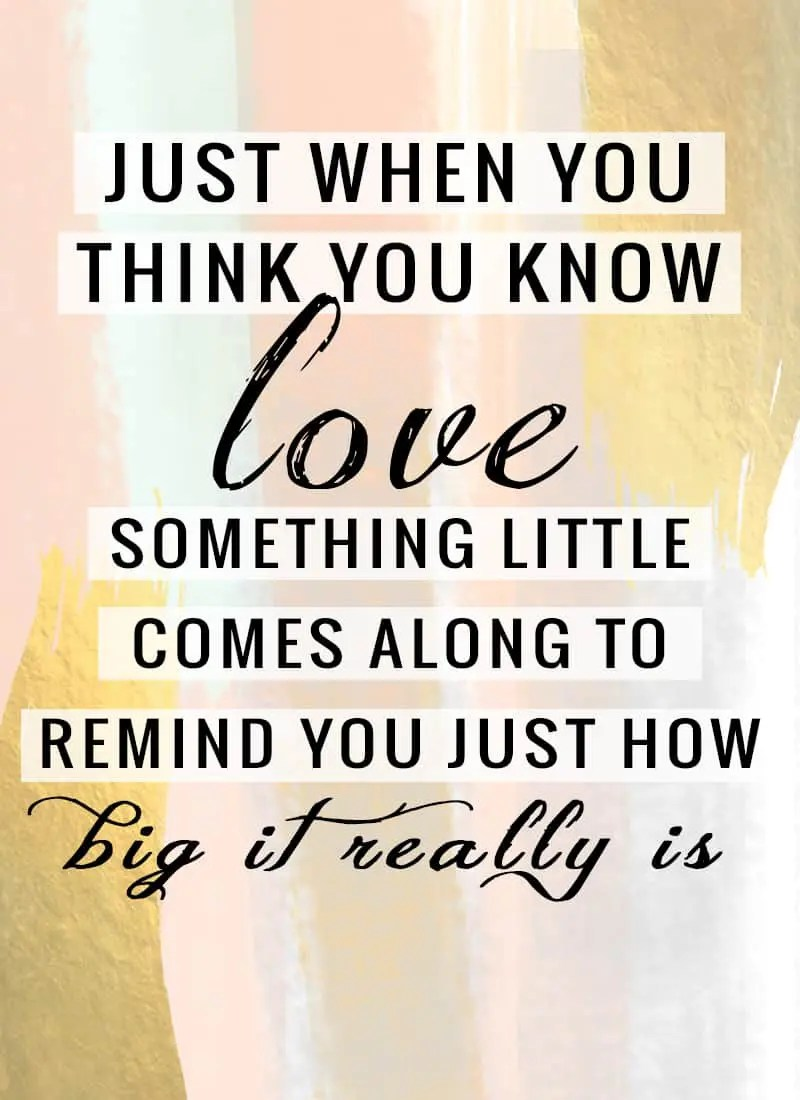 """""""Just when you think you know love, something little comes along to remind you just how big it really is."""""""