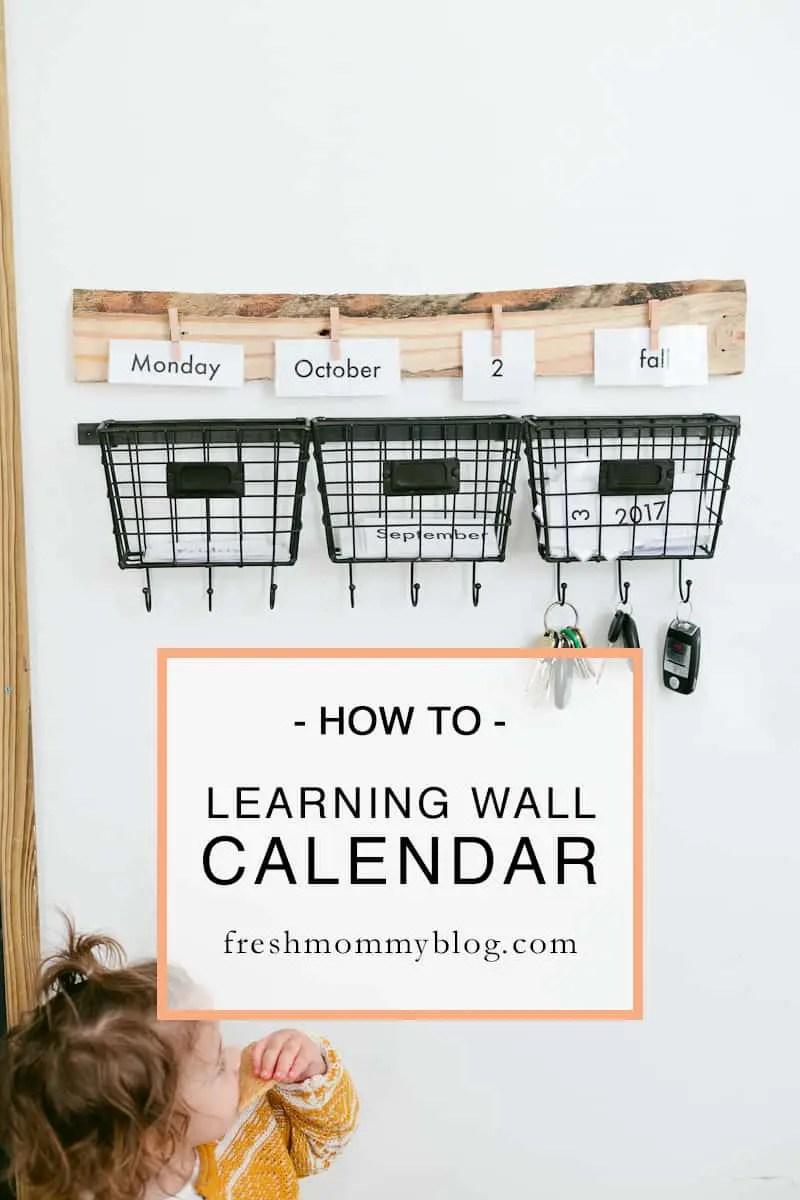 Diy Learning Calendar : Educational home wall diy calendar free printable