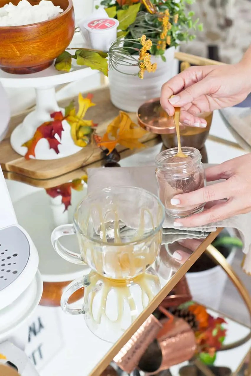 Easy at-home salted caramel mocha recipe in this fall styled coffee bar cart and waffle brunch.
