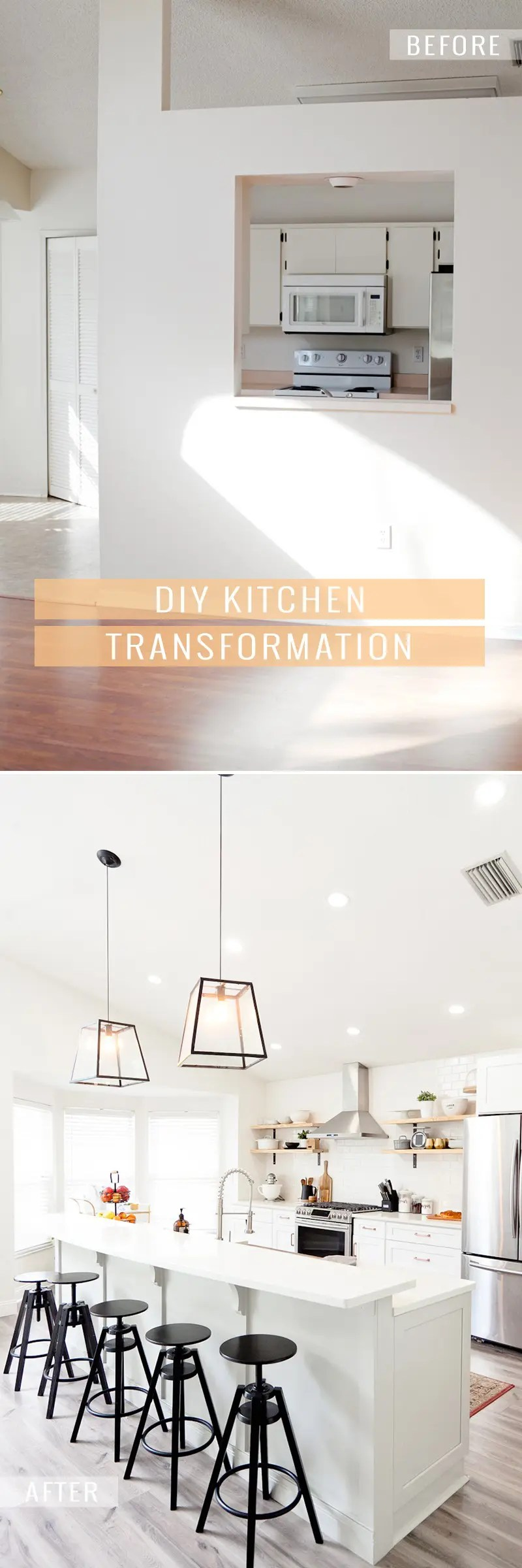Before and After Kitchen Makeover DIY in this House to Home episode with popular Florida blogger Tabitha Blue. Pairing white cabinets with classic subway tile, rustic open shelving, gray island with copper apron sink and more DIY kitchen makeover details.
