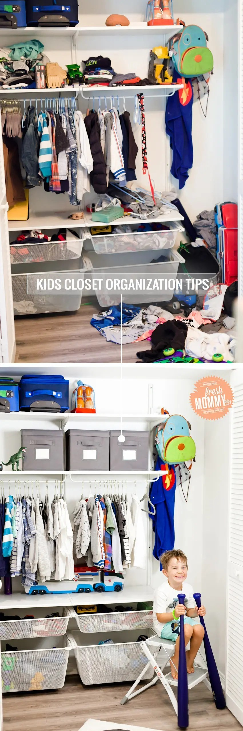 Kids Closet Organization Tips by popular Florida mom blogger Tabitha Blue of Fresh Mommy Blog. See the full before and after!