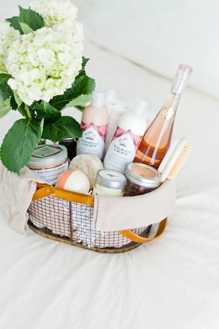 How to Create The Ultimate Pampering Mother's Day Gift Basket with gift basket ideas, shopping list and more for the perfect gift basket DIY. From popular Florida lifestyle and mom blogger Tabitha Blue of Fresh Mommy Blog