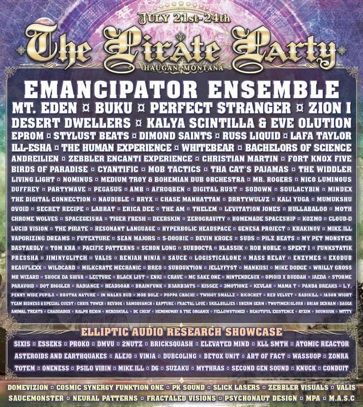 The pirate party line up flyer