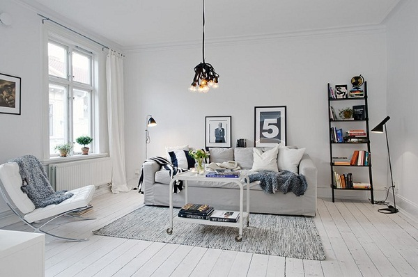 Charming White Apartment With Few Black And Grey Decorations