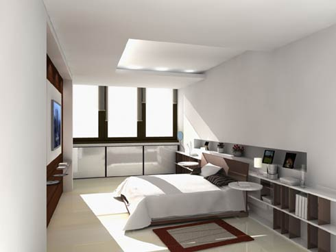 Modern-luxury-minimalistic-design-bedroom-with-white-bed-set-built-in-shelves-cabinets-and-tv-stand