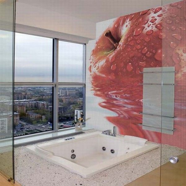 glass mosaic tiles with cool images for bathroom by glas 002 Mosaic Tiles : A Fresh Bathroom Look