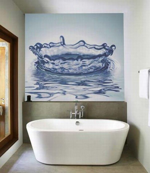 glass mosaic tiles with cool images for bathroom by glas 004 Mosaic Tiles : A Fresh Bathroom Look