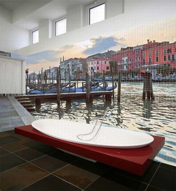 glass mosaic tiles with cool images for bathroom by glas 007 Mosaic Tiles : A Fresh Bathroom Look