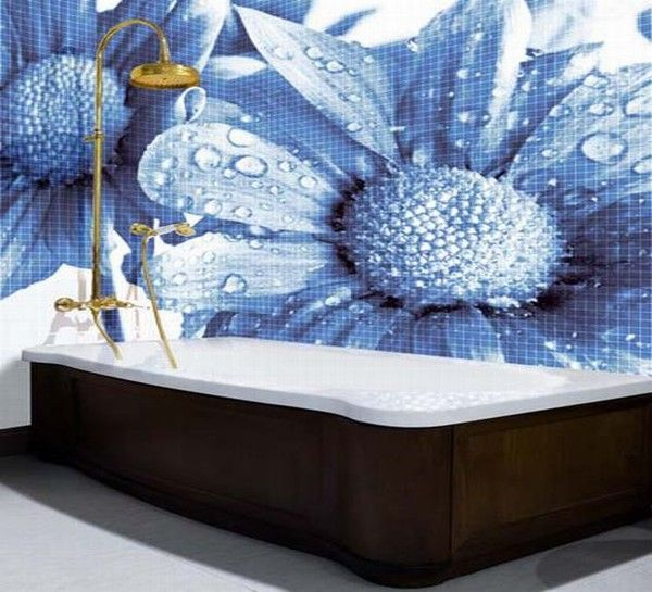 glass mosaic tiles with cool images for bathroom by glas 009 Mosaic Tiles : A Fresh Bathroom Look