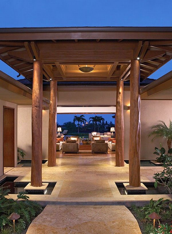 hualalai luxury home design entry Luxury Home in Hualalai