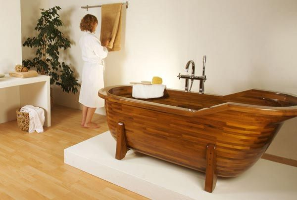 wood bathtub2 Wood Made Bathtubs by Stolis Turn Your Bathroom Into a Spa