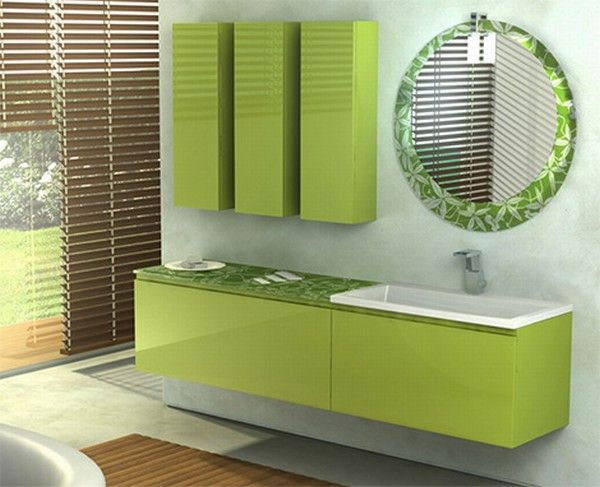 colorful bathroom vanity green bamboo Orange and Green Bathroom Design from Duebi Italia