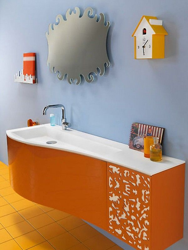 colorful bathroom vanity orange 1 Orange and Green Bathroom Design from Duebi Italia