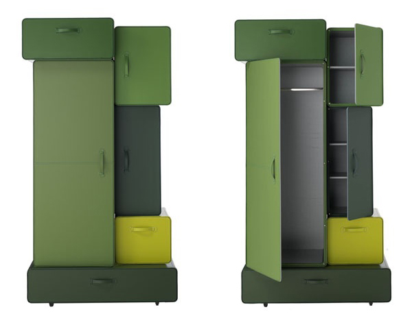 Modern Suitcase-Inspired Cabinets