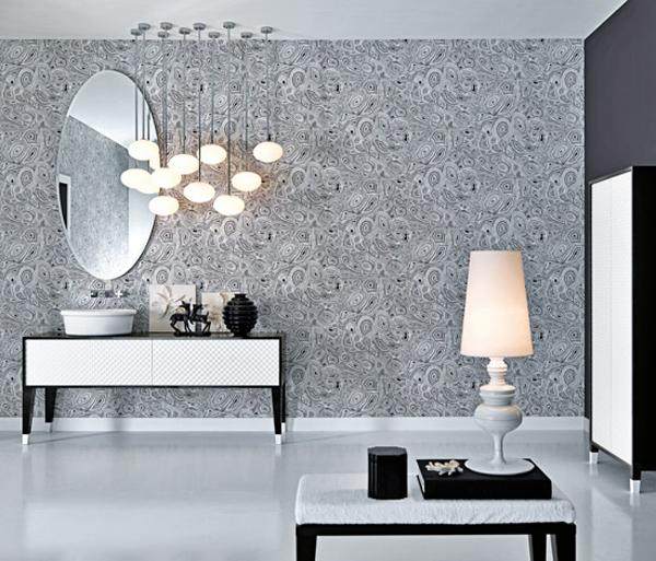 coco collection1 Gorgeous Textured Bathroom Furniture in Black and White from Falper