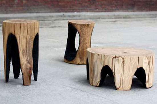 natural wooden furniture 02 Outdoor Burned Wooden Furniture for a Dramatic Effect