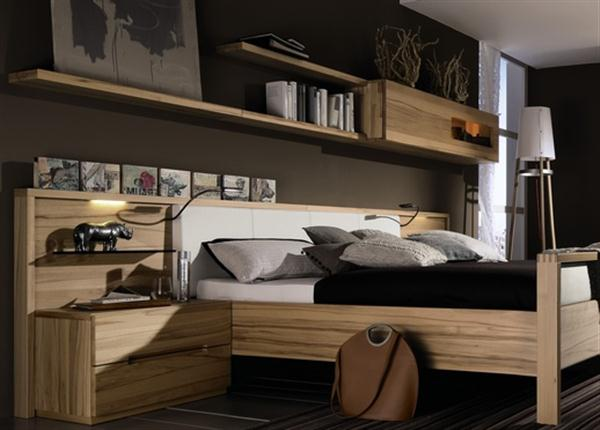 stylish wall mounted shelf Contemporary Natural Bedroom Interior Design Dreamy Bedroom Furniture from Hulsta