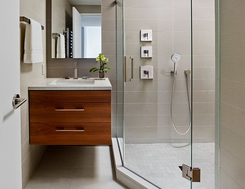 create a barrier-free shower space, separate from the rest of the bathroom with a glass panel door