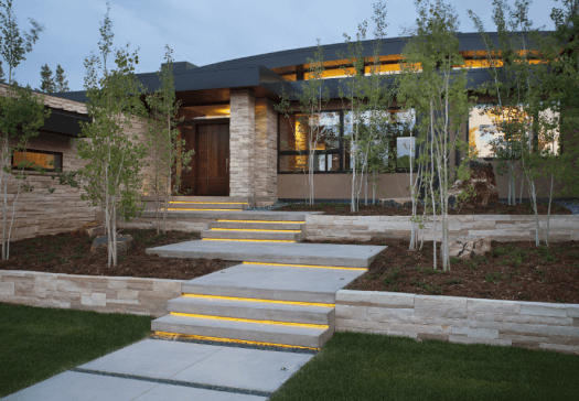 Modern home with landscaping