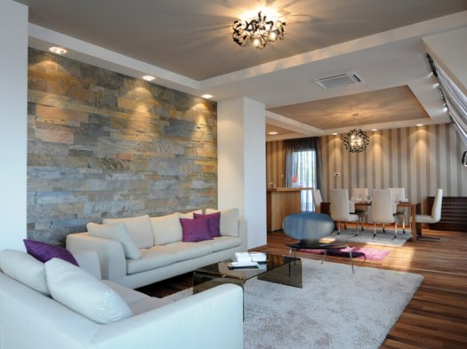 Modern living room with accent lighting