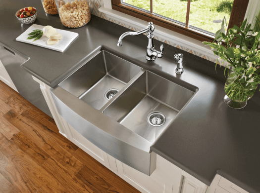 Stainless steel farmhouse sinks are durable and stylish.