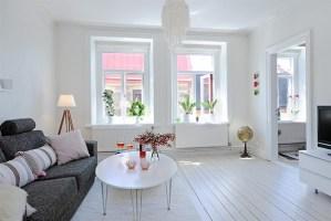 White Living Room North Home Street Flat in Linnestaden Interior Design