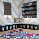 minimalist kids bedroom with toys area