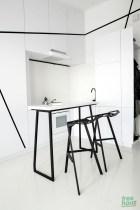 Geometric black and white kitchen