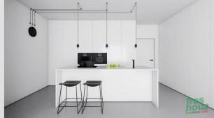 Minimalist black and white kitchen design