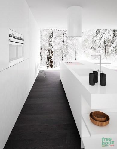 Minimalist black and white kitchen