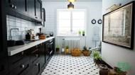 Vintage inspired black and white kitchen design