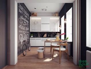 White typography on black kitchen wall