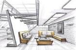 Contemporary Living Room Sketch