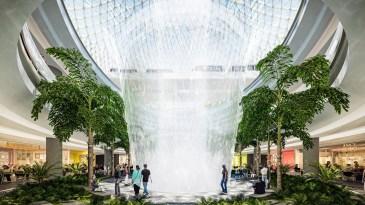 Biggest Indoor Waterfall In An Airport Within Indoor Waterfall