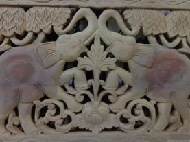 Funky Stuff Beautiful Hand Carved 2 Elephant Teak Timber Panel Regarding Beautiful Hand Carved