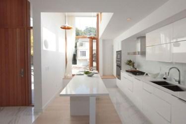 White Wood Interior Inside Minimal White Kitchen