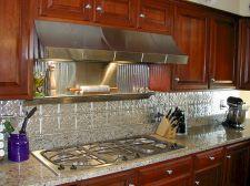 Metal And Tin Backsplash Tiles Kitchen