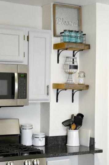 DIY Reclaimed Wood Kitchen Shelves