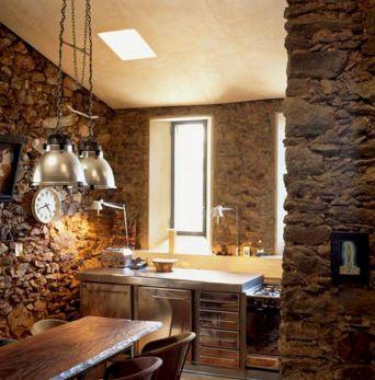 Kitchen Design With Stone Walls