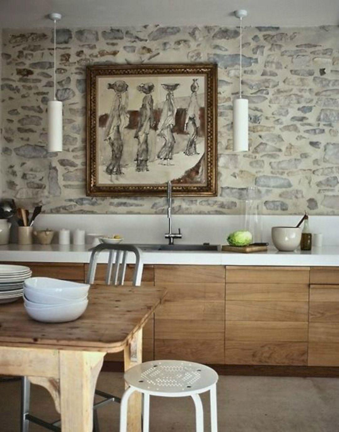Kitchen Rustic Stone Wood