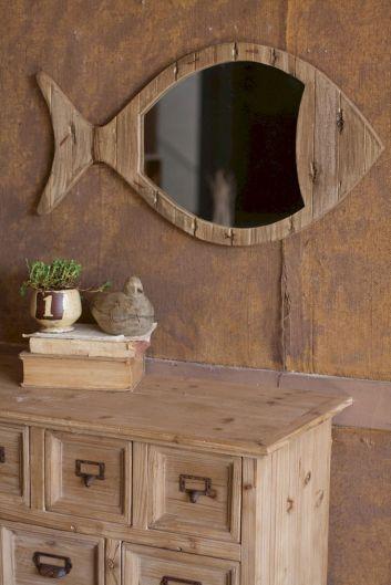 Rustic Wooden Fish Mirror
