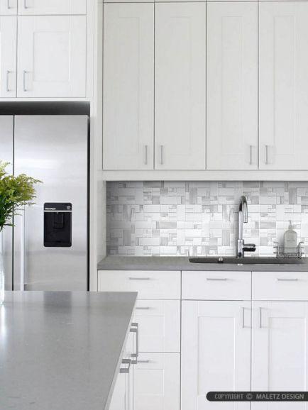 Contemporary White Kitchen Backsplash 19
