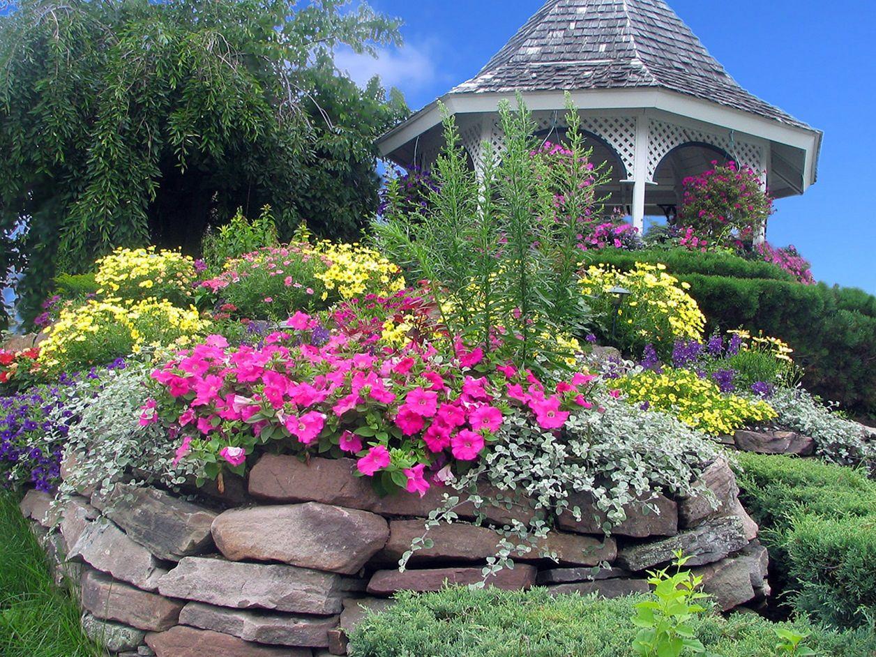 Backyard Flower Garden With Gazebo 18
