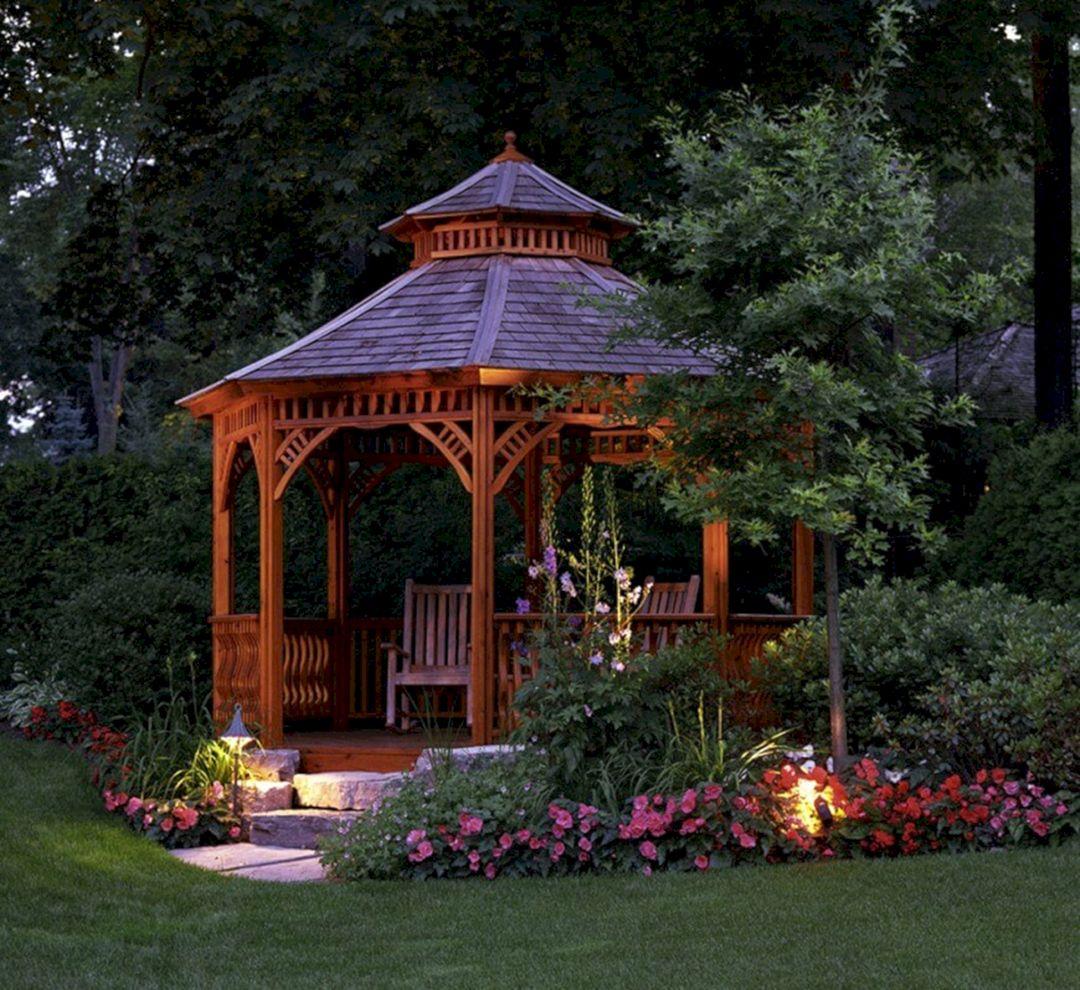 Backyard Flower Garden With Gazebo 20