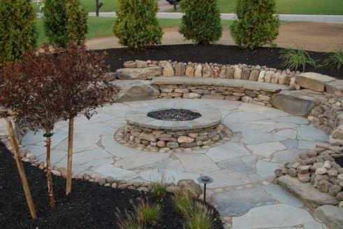 Backyard Patio With Stone Firepit 2
