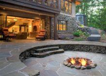 Backyard Patio With Stone Firepit 22