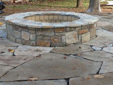 Backyard Patio With Stone Firepit 6