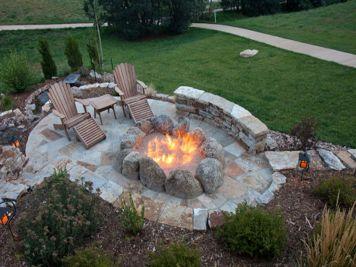 Backyard Patio With Stone Firepit 7