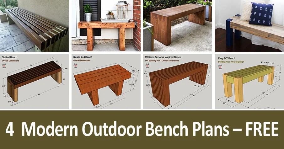 4 diy outdoor bench plans free for a