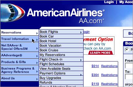 American Airlines Menus
